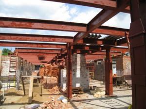 Металлокаркас перекрытия при реконструкции здания