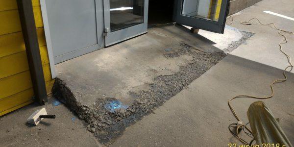 Ремонт бетонного пандуса. Монтаж стального листа.